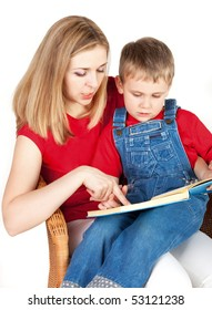 Mother reading book her son