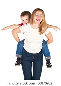 Mother riding son piggyback