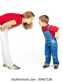 Mother scold her son with humor