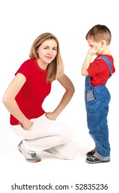 Mother scolding her son on White Background
