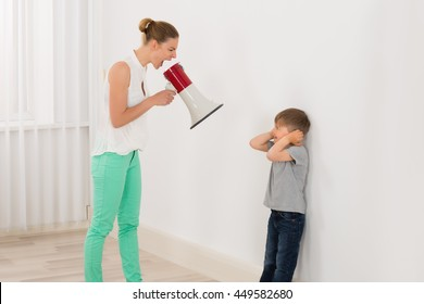 Mother Screaming At Her Son Through Megaphone