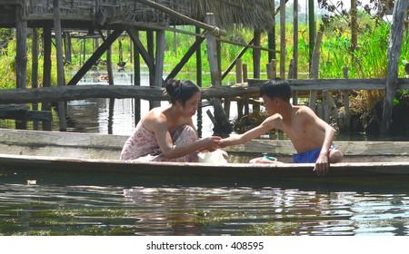 Mother & Son at bathtime, Inle Lake, Myanmar (Burma)