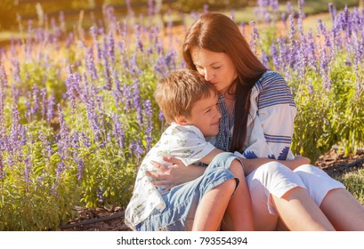 Mother with son in the Difficult Situation