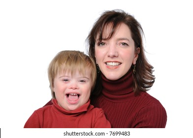 Mother and son with down syndrome isolated on white