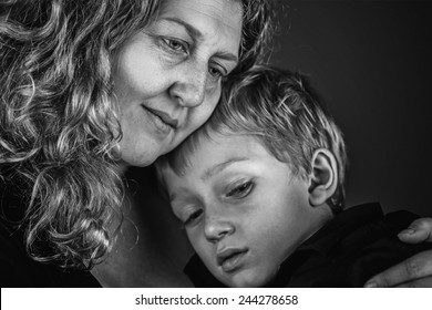 Mother and Son Embrace