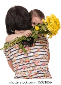 Mother and son embrace with flowers isolated on white