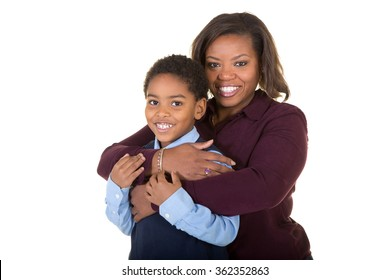 Mother and son embracing isolated on white