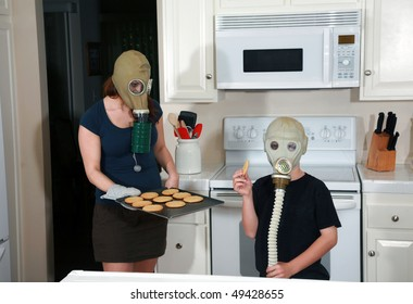 a mother and son enjoy peanut butter cookies in their kitchen while wearing gas masks in a post nuclear winter future