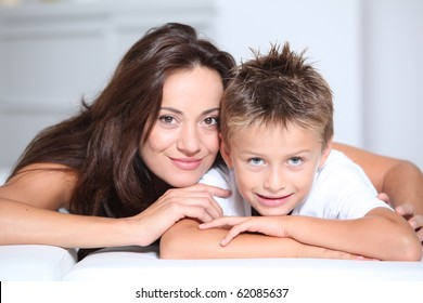 Mother and son having fun at home
