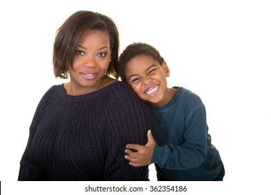 A mother and son isolated on white