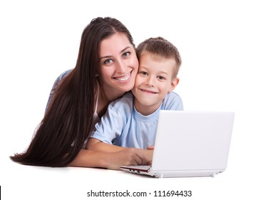 Mother and son with laptop on white