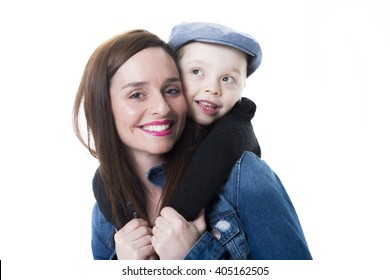 A Mother and son on studio white background