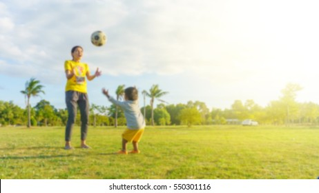 Mother and son playing ball on the grass in the park.