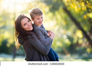 Mother and son playing outside