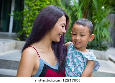 Mother and son portrait.