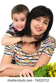 Mother and son portrait with flowers isolated on white