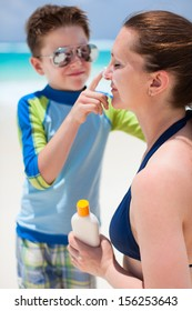 Mother and son portrait on beach vacation