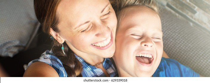 Mother And Son Posing For Selfie  and smiling, banner