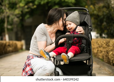 mother and son stroller