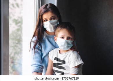 Mother and son trying to stop disease spread. Quarantine at home