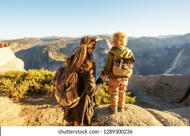 Mother with  son visit Yosemite national park in California