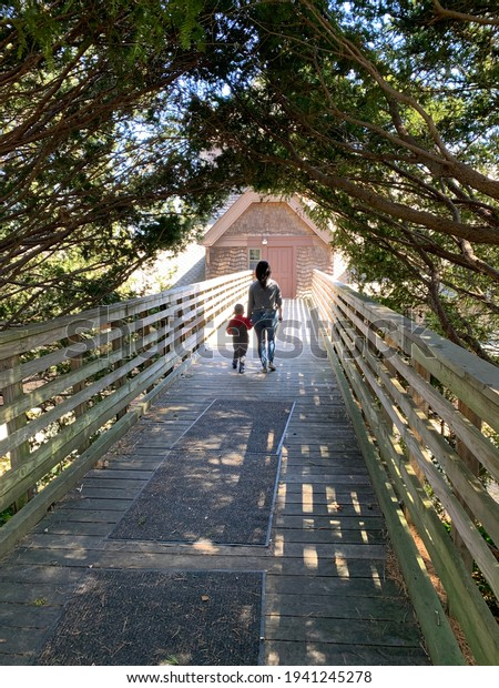 A mother and son walking hand in hand down a wooden bridge and under a tunnel of trees. Small gaps in the trees let the sunlight in. They are walking across the bridge together and towards a door.