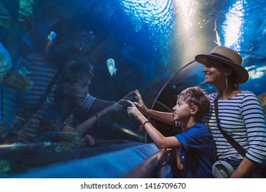 Mother and son walking in indoor huge aquarium tunnel, enjoying a underwater sea inhabitants, showing an interesting to each other.