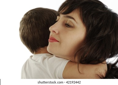 Mother and son in white t-shirt tightly hugging, isolated on white