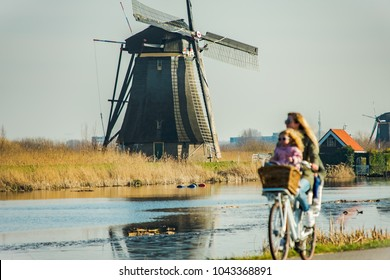 Mother and sons biking in the Netherlands