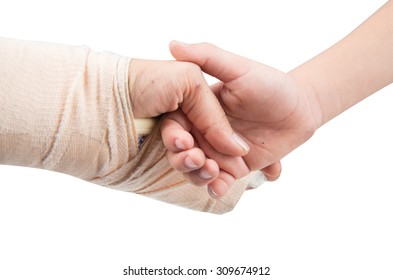 mother splint hand with holding son hand together isolate on white background