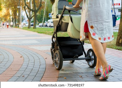 mother with a stroller on a walk