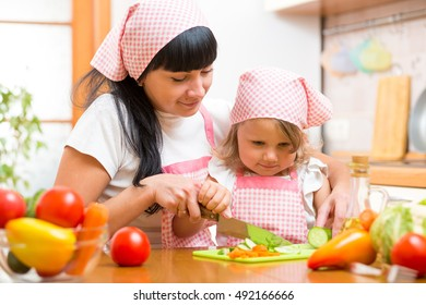 Mother teaching child daughter making salad in kitchen. Mom and kid chopping vegetable on cutting board with knife. Cooking concept of happy family preparing food for dinner.