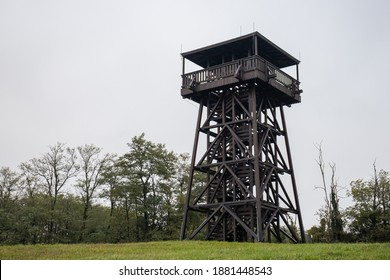 Mother Theresa (Terez Anya) lookout tower in an autumn afternoon in Zalakoveskut, Hungary