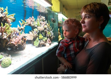 Mother with toddler have holiday at aquarium