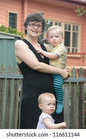 mother and twins of average ordinary real family australia