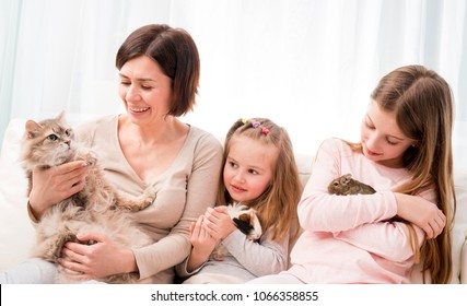 Mother and two little daughters holding their favorite pets on hands. Children playing with guinea pig, cat and degu squirrel while sitting on the soft sofa at home.