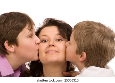 mother and two sons on a white background closeup