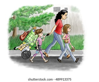 A mother and two young daughters walk home from a shopping trip pulling a folding shopping cart.