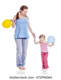 Mother walking with two year old daughter isolated on white