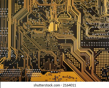 Motherboard detail macro. Data bus close-up
