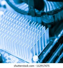 Motherboard details: CPU cooler close up