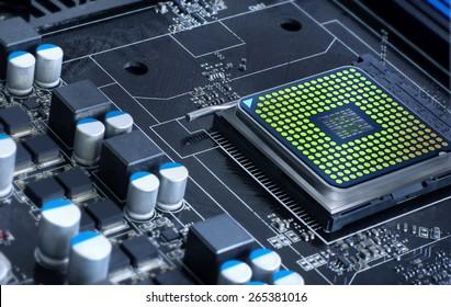 motherboard with microprocessor, futuristic microchip