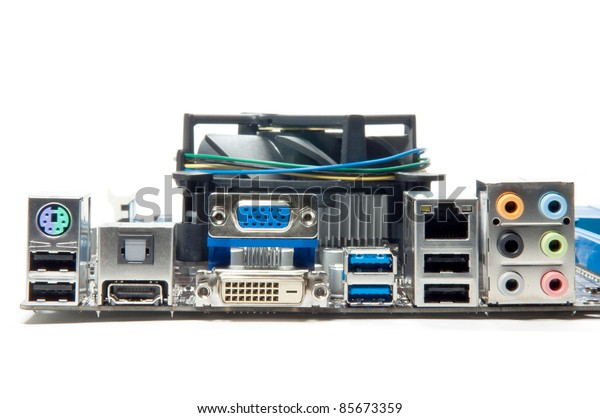 Motherboard and port on isolate background.