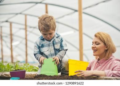 motherhood. happy motherhood with mother and son in greenhouse. motherhood concept. motherhood is a gift to a woman. happy family
