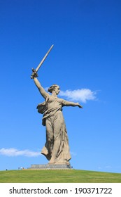 Motherland Calls statue in Mamayev Kurgan in Volgograd, Russia, commemorating the Battle of Stalingrad of World War II