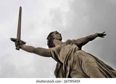 Motherland statue. Mamaev Hill war memorial in Volgograd, Russia. Popular touristic landmark.