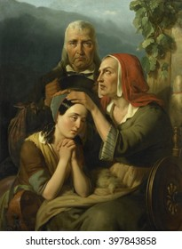 A Mother's Blessing, by Moritz Calisch, 1844, Dutch painting, oil on canvas. Sentimental family group depicting a tearful mother blessing her daughter. The girl kneels with her mother and receives her
