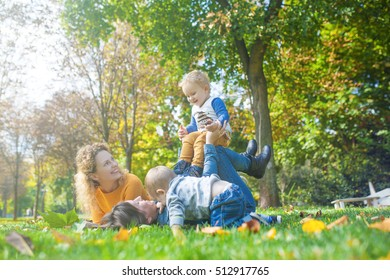 Mothers and children play in nature