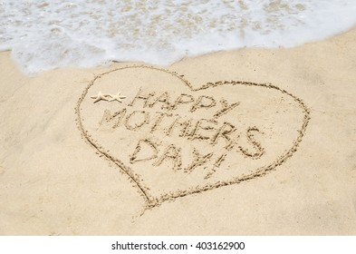 Mother's day background on the sandy beach near ocean