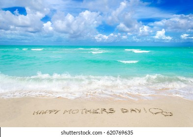 Mother's day background on the sandy beach near the ocean, Miami beach, Florida